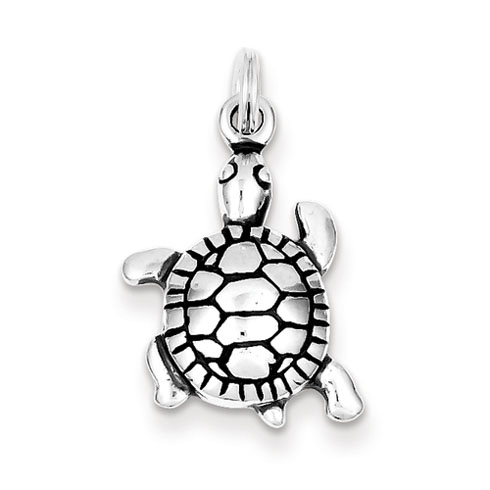 Sterling Silver 3/4in Antiqued Turtle Charm