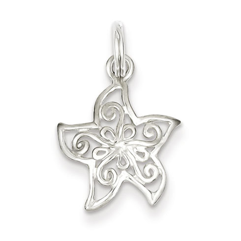 Sterling Silver 1/2in Filigree Starfish Charm