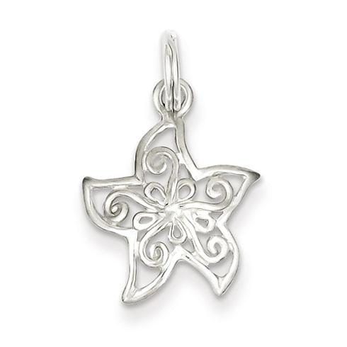 Sterling Silver 1/2in Filigree Starfish Charm
