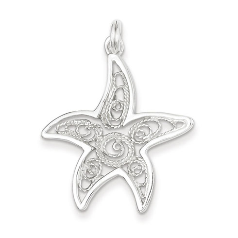 Sterling Silver 1 1/8in Starfish Pendant