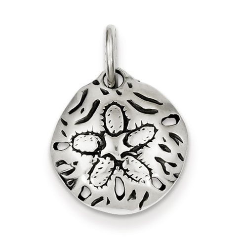 Sterling Silver 5/8in Antiqued Open Back Sand Dollar Charm