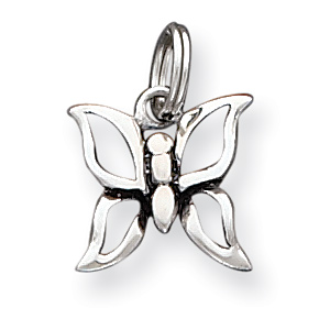 Sterling Silver 1/2in Antiqued Butterfly Charm