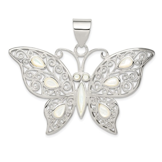 Sterling Silver Mother of Pearl Fancy Butterfly Pendant