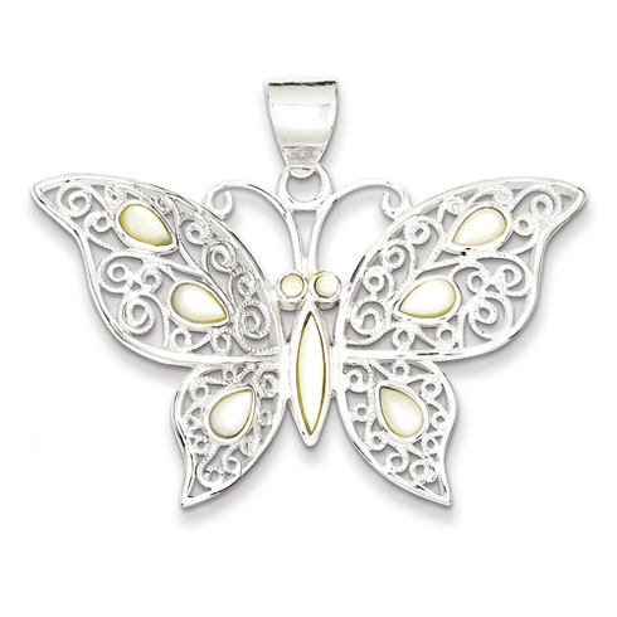 Sterling Silver Mother of Pearl Fancy Butterfly Pendant