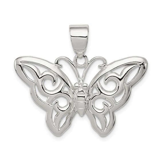 Sterling Silver 3/4in Butterfly Pendant