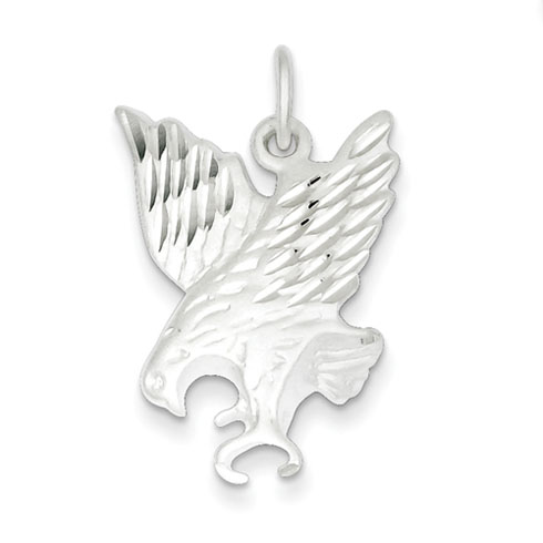 Sterling Silver 1in Diamond Cut Preying Eagle Charm