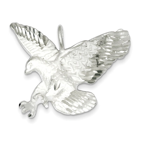 Sterling Silver 1 1/4in Preying Eagle Pendant