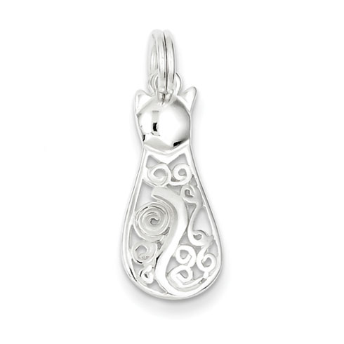 Sterling Silver Fancy Cat Charm 7/8in