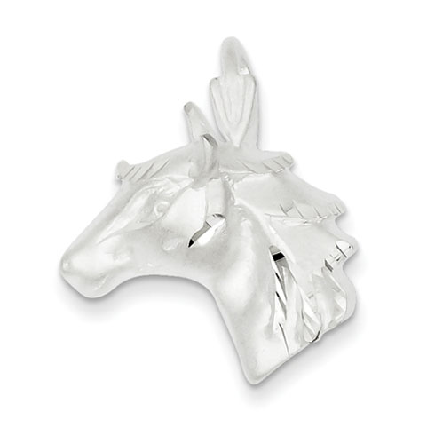 Sterling Silver Diamond Cut Horse Head Pendant