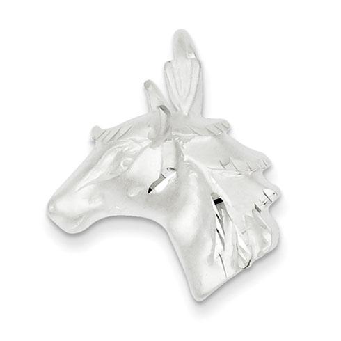 Sterling Silver Diamond Cut Horse Head Pendant