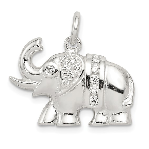 Sterling Silver CZ Elephant Charm