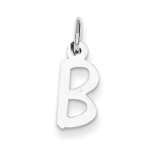 Sterling Silver Small Slanted Block Initial B Charm