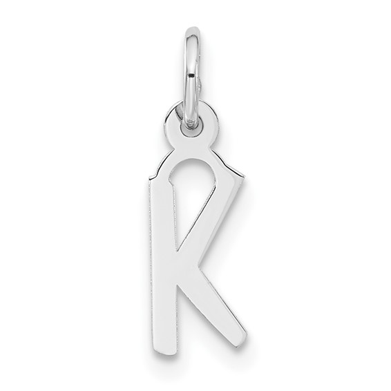 Sterling Silver Small Slanted Block Initial K Charm