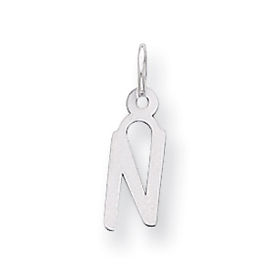 Sterling Silver Small Slanted Block Initial N Charm