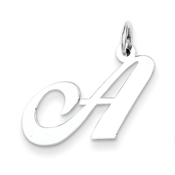 Sterling Silver Medium Fancy Script Initial A Charm