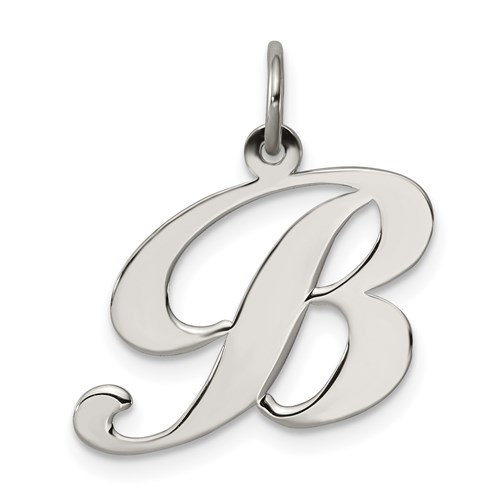 Sterling Silver Medium Fancy Script Initial B Charm
