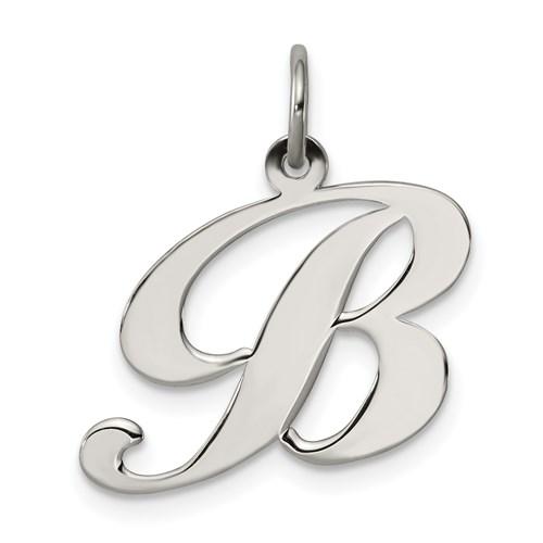 Sterling Silver Medium Fancy Script Initial B Charm