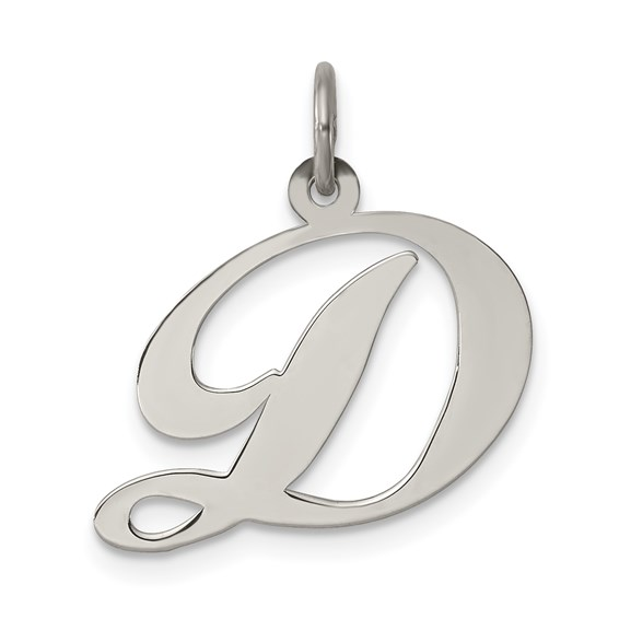 1/2in Fancy Script Initial D Charm - Sterling Silver
