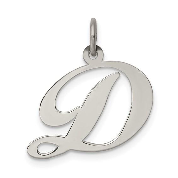 1/2in Fancy Script Initial D Charm - Sterling Silver