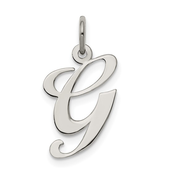 Sterling Silver Medium Fancy Script Initial G Charm