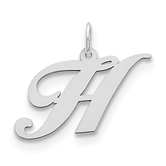 Sterling Silver Medium Fancy Script Initial H Charm