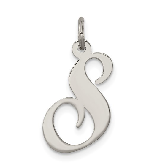 Sterling Silver Medium Fancy Script Initial S Charm