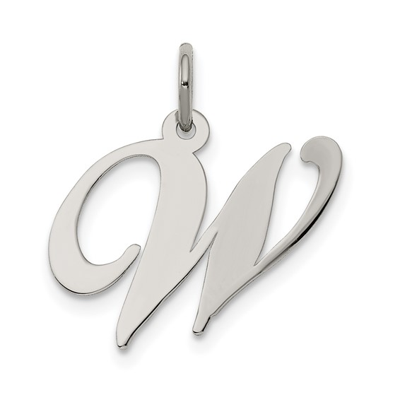 Sterling Silver Medium Fancy Script Initial W Charm