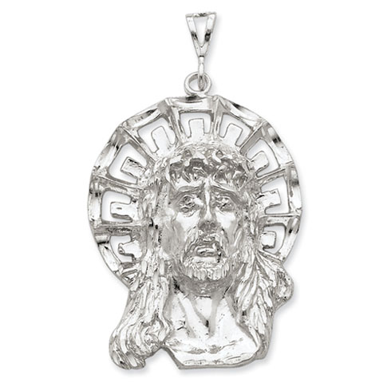 Sterling Silver 1 7/8in Jumbo Face of Jesus Pendant