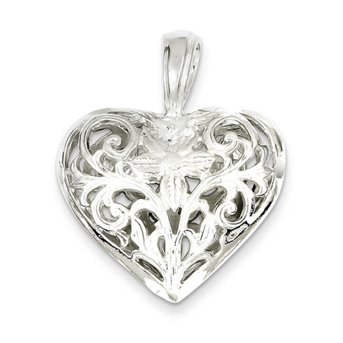 Sterling Silver Filigree Heart Pendant 1in