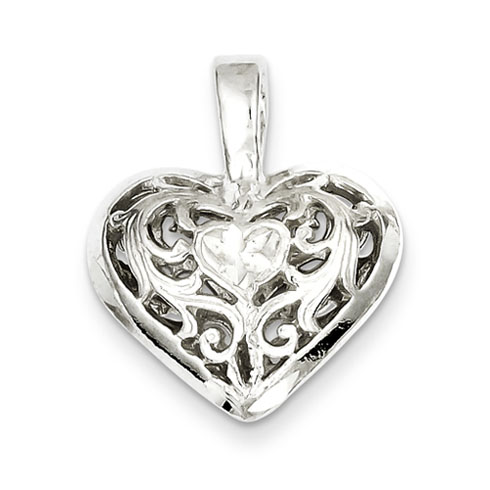 Sterling Silver 11/16in Fancy Filigree Heart Charm