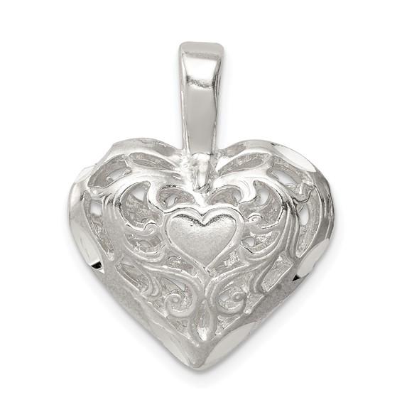 Sterling Silver 11/16in Fancy Filigree Heart Charm