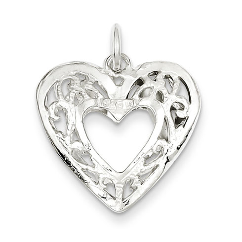 Sterling Silver 3/4in Filigree Heart Charm