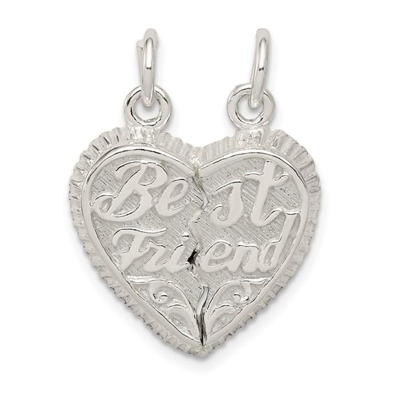 Sterling Silver Best Friend 2-piece Break apart Heart Charm