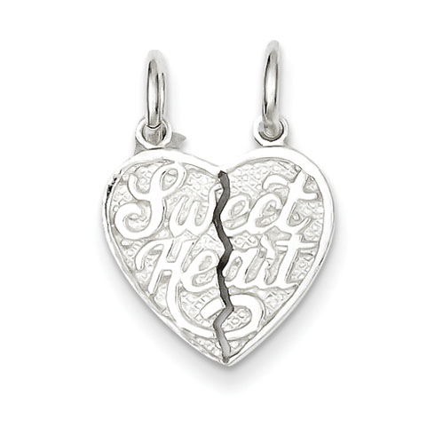 Sterling Silver Small Sweet Heart Break apart Heart Charm