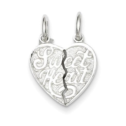 Sterling Silver Sweet Heart 2-piece break apart Heart Charm
