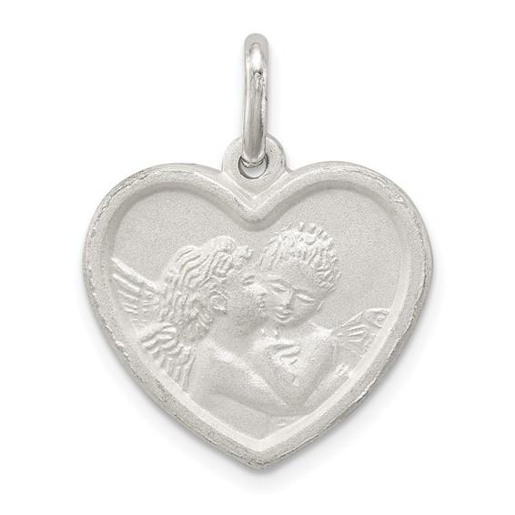 3/4in Angel in Heart Charm - Sterling Silver