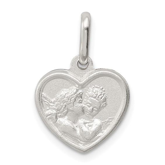 Sterling Silver 7/16in Italian Angel in Heart Charm