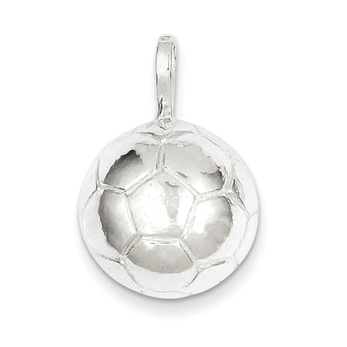 Sterling Silver 5/8in Polished Soccer Ball Charm