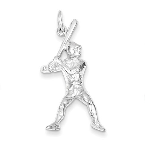 Sterling Silver Baseball Player At Bat Charm