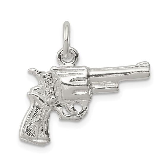 Sterling Silver Gun Revolver Charm