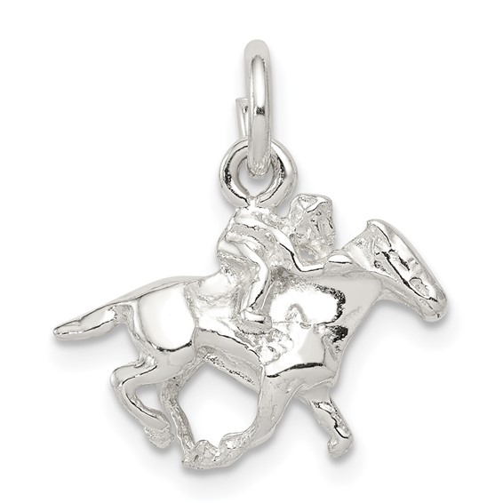 Sterling Silver Horse with Rider Charm