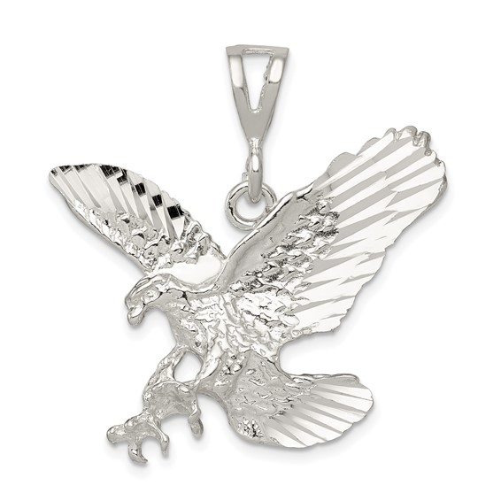 Sterling Silver 1 1/8in Diamond-cut Eagle Pendant