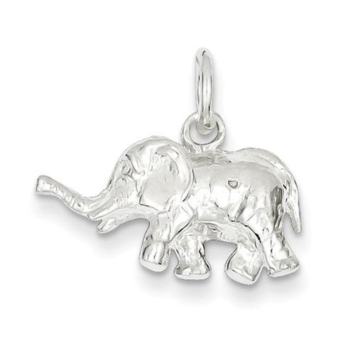 Sterling Silver 1/2in 3-D Walking Elephant Charm