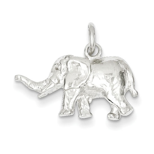 Sterling Silver 1/2in 3-D Polished Elephant Charm