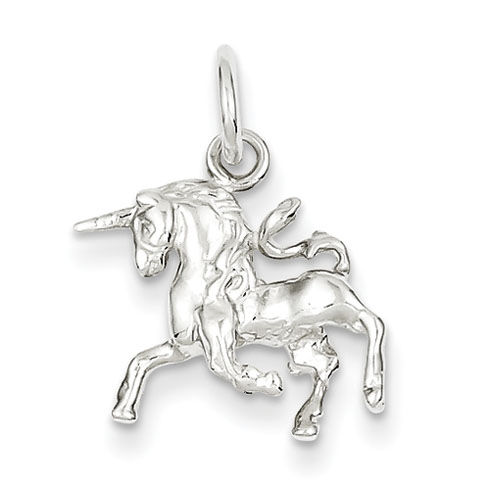 Sterling Silver 1/2in 3-D Unicorn Charm