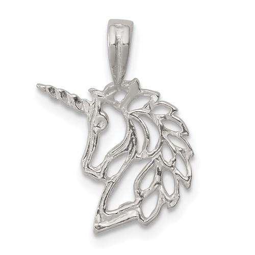 Sterling Silver 9/16in Pierced Unicorn Head Charm