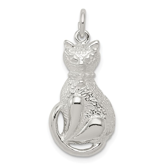 Sterling Silver Cat with Curled Tail Charm