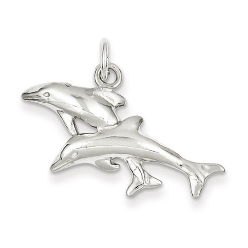Sterling Silver 5/8in Dashing Dolphins Charm
