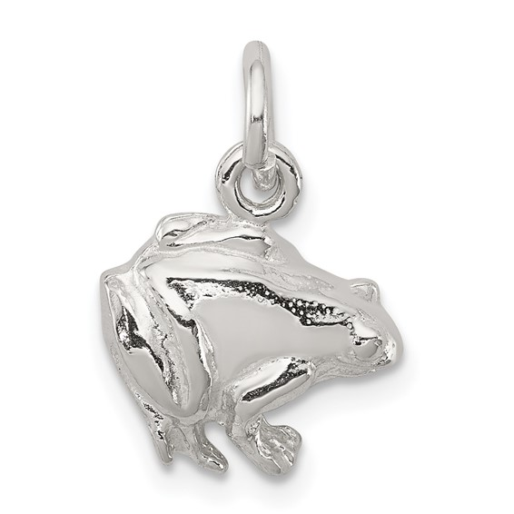 Sterling Silver 1/2in Open Back Frog Charm
