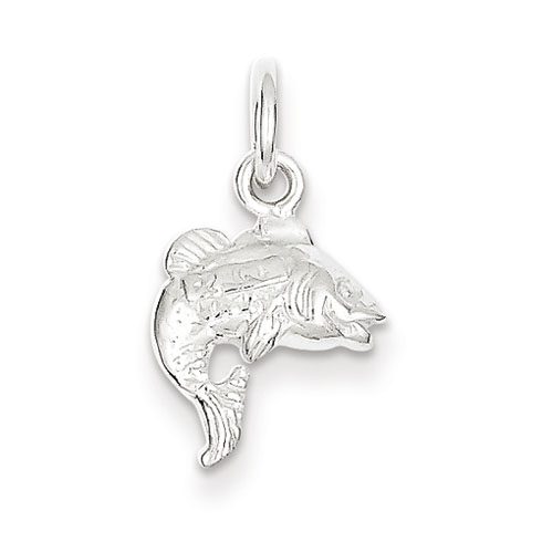 Sterling Silver 1/2in 3-D Fish Charm